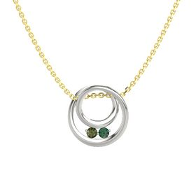 Round Green Tourmaline 14K White Gold Pendant with Alexandrite