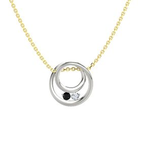 Round Black Onyx 14K White Gold Pendant with Diamond