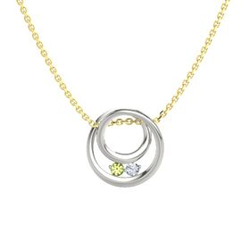 Round Peridot 14K White Gold Pendant with Diamond
