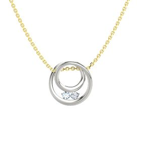 Round Aquamarine 14K White Gold Pendant with Diamond