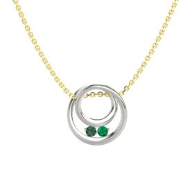 Round Alexandrite 14K White Gold Pendant with Emerald