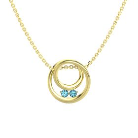 Round London Blue Topaz 14K Yellow Gold Pendant with London Blue Topaz