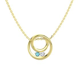Round London Blue Topaz 14K Yellow Gold Pendant with Diamond