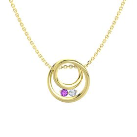Round Amethyst 14K Yellow Gold Necklace with Diamond