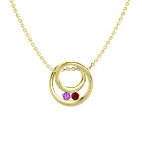 Round Amethyst 14K Yellow Gold Pendant with Ruby
