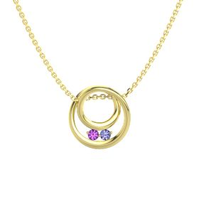 Round Amethyst 14K Yellow Gold Pendant with Tanzanite