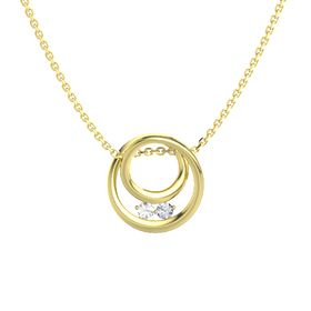 Round Rock Crystal 14K Yellow Gold Pendant with Diamond
