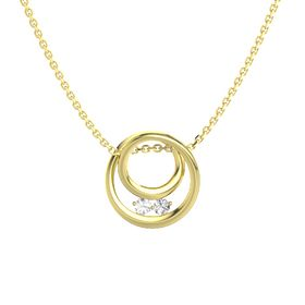 Round Rock Crystal 14K Yellow Gold Pendant with White Sapphire