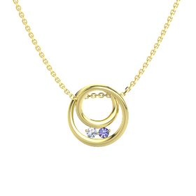 Round Diamond 14K Yellow Gold Pendant with Tanzanite