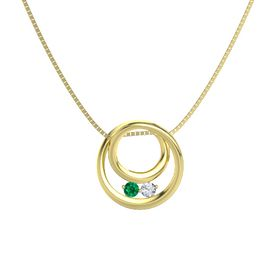 Round Emerald 14K Yellow Gold Pendant with Diamond