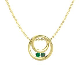 Round Emerald 14K Yellow Gold Necklace with Alexandrite