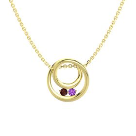 Round Red Garnet 14K Yellow Gold Pendant with Amethyst