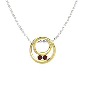 Round Red Garnet 14K Yellow Gold Necklace with Red Garnet