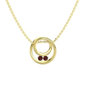 Round Red Garnet 14K Yellow Gold Pendant with Red Garnet