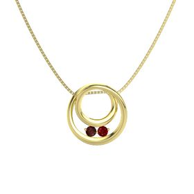 Round Red Garnet 14K Yellow Gold Pendant with Ruby