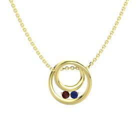 Round Red Garnet 14K Yellow Gold Necklace with Sapphire