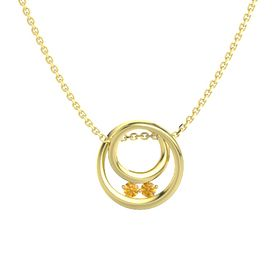 Round Citrine 14K Yellow Gold Pendant with Citrine