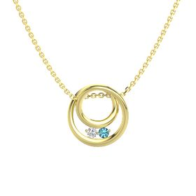 Round White Sapphire 14K Yellow Gold Pendant with London Blue Topaz