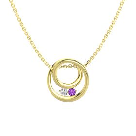 Round White Sapphire 14K Yellow Gold Pendant with Amethyst