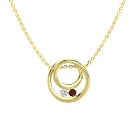 Round White Sapphire 14K Yellow Gold Necklace with Red Garnet