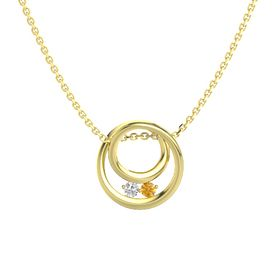 Round White Sapphire 14K Yellow Gold Pendant with Citrine