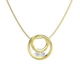 Round White Sapphire 14K Yellow Gold Necklace with White Sapphire