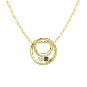 Round White Sapphire 14K Yellow Gold Pendant with Green Tourmaline