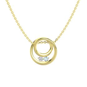 Round White Sapphire 14K Yellow Gold Pendant with Aquamarine