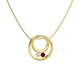 Round White Sapphire 14K Yellow Gold Pendant with Ruby
