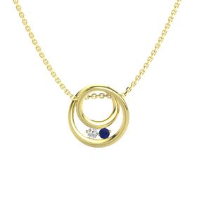 Round White Sapphire 14K Yellow Gold Necklace with Sapphire