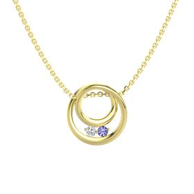 Round White Sapphire 14K Yellow Gold Pendant with Tanzanite