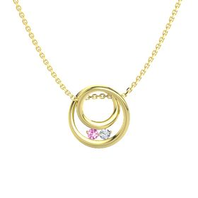 Round Pink Sapphire 14K Yellow Gold Pendant with Diamond