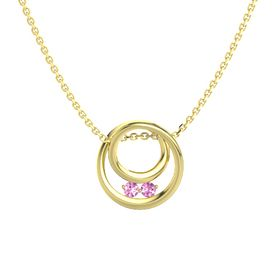 Round Pink Sapphire 14K Yellow Gold Necklace with Pink Sapphire