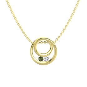 Round Green Tourmaline 14K Yellow Gold Pendant with Diamond