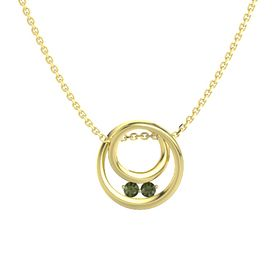 Round Green Tourmaline 14K Yellow Gold Pendant with Green Tourmaline