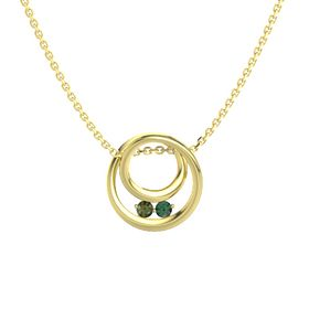 Round Green Tourmaline 14K Yellow Gold Necklace with Alexandrite