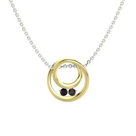 Round Black Onyx 14K Yellow Gold Pendant with Black Diamond