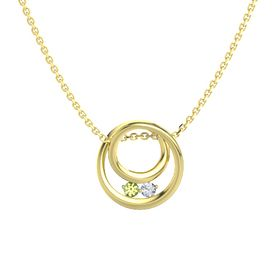 Round Peridot 14K Yellow Gold Pendant with Diamond