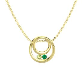 Round Peridot 14K Yellow Gold Necklace with Emerald