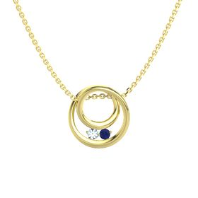Round Aquamarine 14K Yellow Gold Necklace with Sapphire