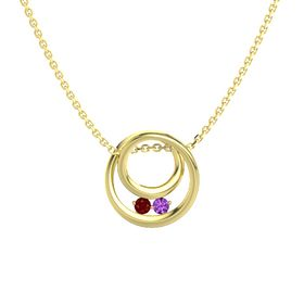 Round Ruby 14K Yellow Gold Necklace with Amethyst