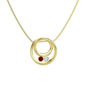 Round Ruby 14K Yellow Gold Necklace with Diamond