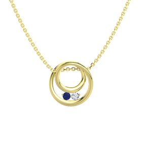 Round Blue Sapphire 14K Yellow Gold Pendant with Diamond
