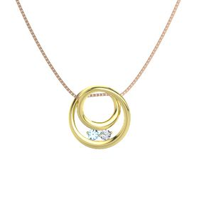 Round Blue Topaz 14K Yellow Gold Pendant with Diamond