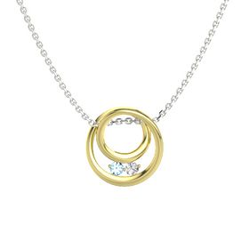 Round Blue Topaz 14K Yellow Gold Pendant with White Sapphire