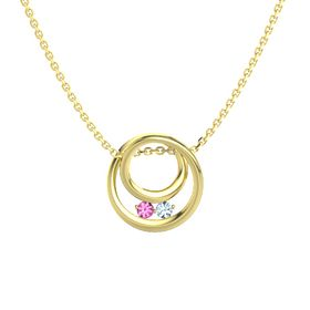 Round Pink Tourmaline 14K Yellow Gold Pendant with Aquamarine