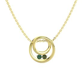 Round Alexandrite 14K Yellow Gold Necklace with Green Tourmaline