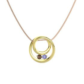 Round Smoky Quartz 14K Yellow Gold Pendant with Tanzanite