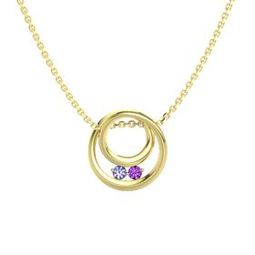 Round Tanzanite 14K Yellow Gold Necklace with Amethyst