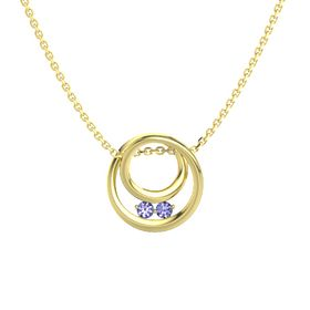 Round Tanzanite 14K Yellow Gold Necklace with Tanzanite
